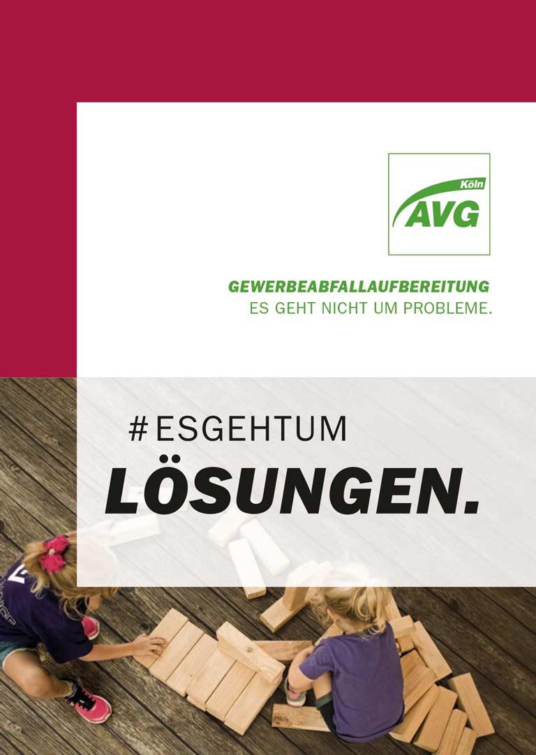 Cover der AVG Köln Broschüre Gewerbeabfallaufbereitung #esgehtum Lösungen.