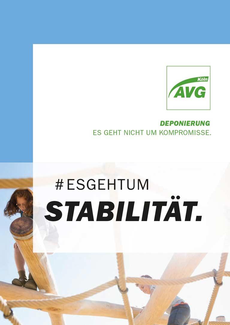 Cover der AVG Köln Broschüre Deponierung #esgehtum Stabilität.