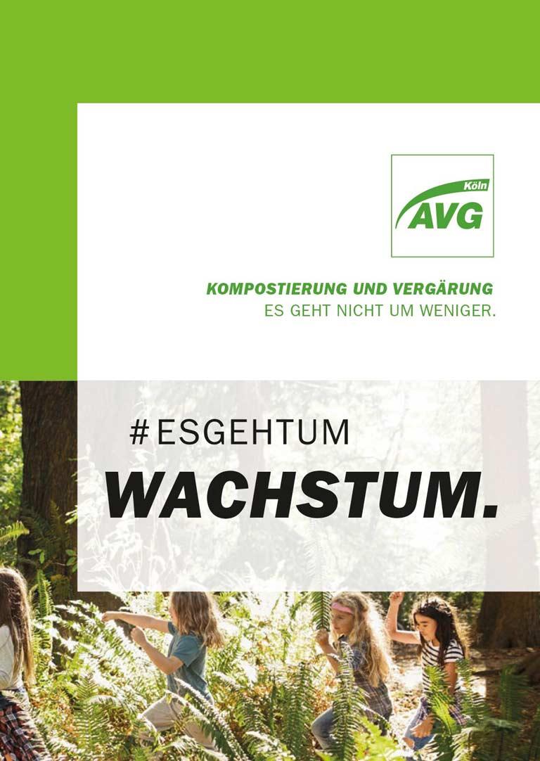Cover der AVG Köln Broschüre Kompostierungs- und Vergärungsanlage #esgehtum Wachstum.