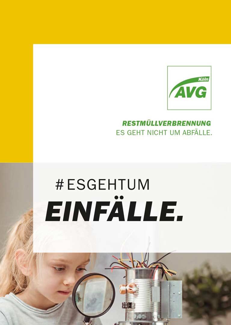 Cover der AVG Köln Broschüre Restmüllverbrennungsanlage #esgehtum Einfälle.
